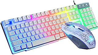 $24 » RONSHIN USB Office Rainbow Backlight Keyboard Mouse Set Mechanical for PC Laptop Desktop Gaming Stylish Ergonomic Combo White Electronic Accessories