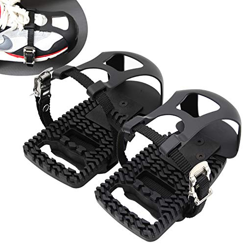 Naisi Adjustable Pedal Adapter Pedals Toe Clips Cage with Straps for Peloton Bike and Peloton Bike