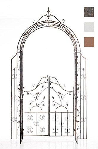 CLP Arco per Rampicanti Grenada con Cancello – Arco Pergolato Fiori e Piante Rampicanti da Giardino Rustico – Supporto per Piante in Ferro – Passaggio (AxL): 235x100cm Bronzo