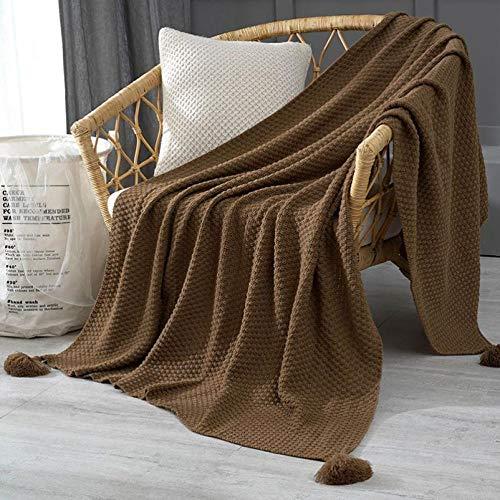 Amosiwallart Mantas para Sofa, Mantas para Cama de Franela Reversible, Mantas Ligeras de 100% Microfibra - Fácil De Limpiar - Extra Suave Cálido -marrón_110cm * 150cm