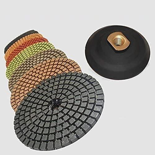 STADEA 5' Wet Diamond Polishing Pads Set for Concrete polishing + Rubber Backer (5/8' 11 Threaded)