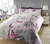 Sleepdown - Juego de Cama, con diseño de Paris, Funda de edredón y Funda de Almohada, impresión Digital, para Dormitorio, (tamaño Individual)