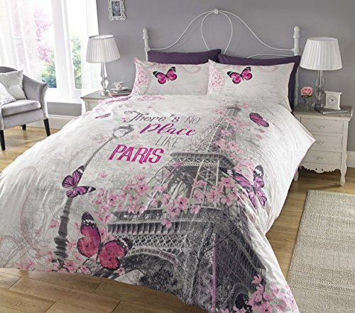 Sleepdown New Paris Romance Duvet Cover & Pillowcase Set Bedding Digital Print Quilt Case Bedding Bedroom Daybed (Double)