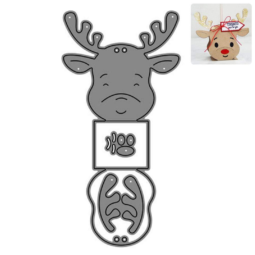 Troqueles de corte de caja de regalo de Navidad con diseño de ciervos, plantilla de metal para manualidades, álbum de recortes, tarjeta de papel, decoración: Amazon.es: Hogar