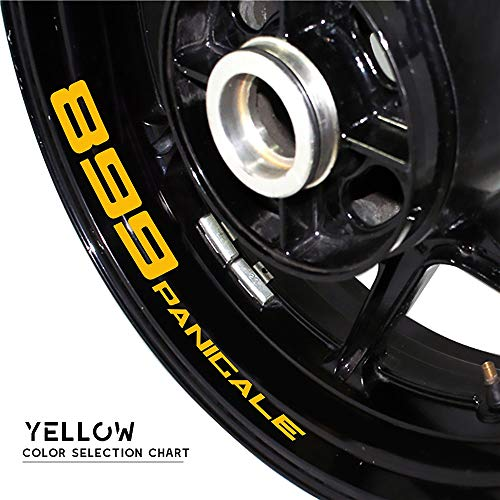 para Ducati 899 Panicale Motorcycle Wheel Sticker Reflective Rim Stripe Tape Motorbike Decal Styling Stick Completo Cinta (Color : Reflective Yellow)