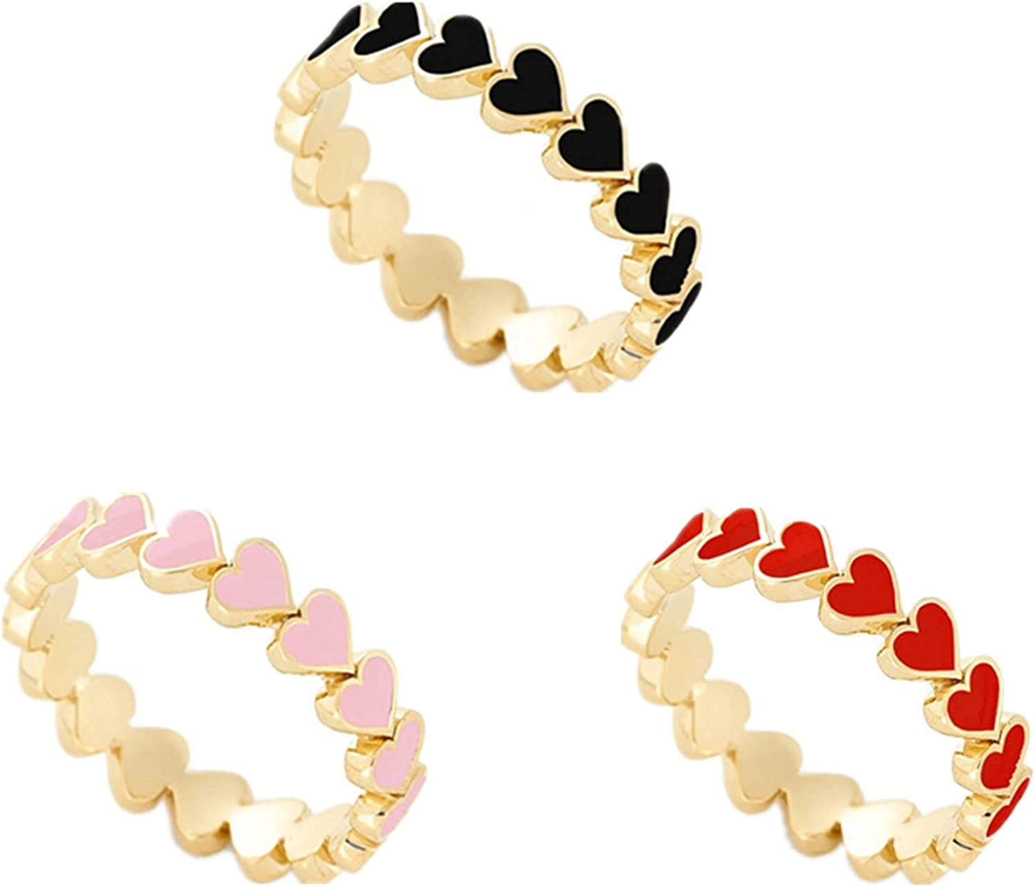 COLORFUL BLING 3PCS Colorful Heart Rings Set Stackable Couple Friendship Love Promise Ring