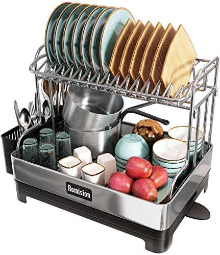 Stainless Steel Dish Drying Rack, Romision 2 Tier Large Dish Rack and Drainboard Set, Full Size Dish...