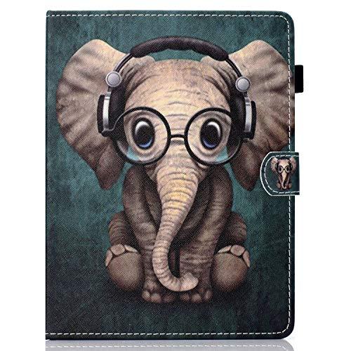 Ancase Universal 9.5-10.5 Zoll Tablet Hülle kompatibel für Tablette 9.6 9.7 10.1 Zoll Samsung Huawei Apple Lenovo Case Leder Tasche Schutzhülle Flip Cover - Elefant