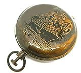 Brújula náutica con botón de bolsillo estilo reloj de latón pesado marino/senderismo, Ross, Londres