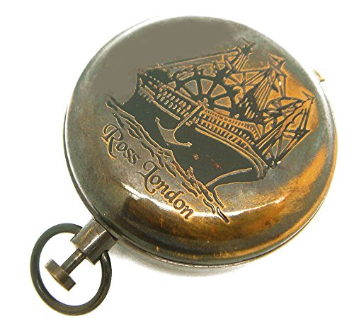 Boussole de navigation nautique en laiton vieilli, bouton-poussoir