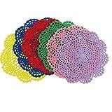 DODOGA 6pcs Doilies Cloth Lace Crochet Doilies Doilies for Tables Table Place Mats Placemats for Kitchen Coasters Doilies Round Handmade Crochet Cotton Lace Glass Bowl Dish Dining Table Mats 8 Inch