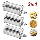 Pasta Maker Attachments Set fits KitchenAid Stand Mixers,with 1 Roller 2 Cutter Stainless Steel Accessory by...