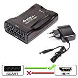AMANKA Convertitore SCART a HDMI Adattatore Audio Stereo HD Video Composito per SKY HD Blu Ray DVD TV PS3(NON CONVERTE IL SEGNALE DA HDMI a SCART)