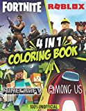 4 in 1: Minecraft - Among us - Roblox - Fortnite Coloring Book: +60 Coloring Pages For Kids and Adults, Among us, Fortnite, Roblox, and Minecraft Colouring Books