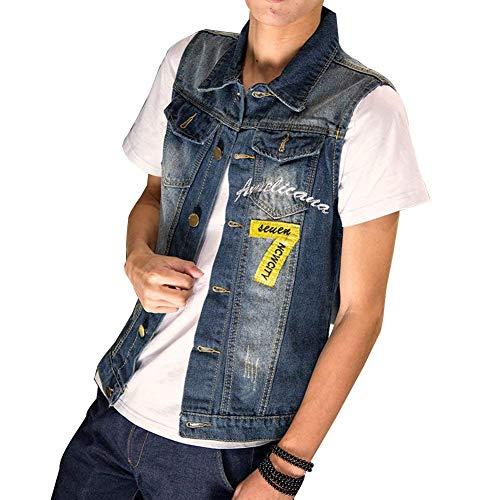 Rmellos Jeansjacke Ripped Denim Vest Jeansweste Zerrissen Bequeme Größen Oberteile Cowboy Slim Fit Weste Buchstabe Gedruckt Spleiß Metallschnalle Breasted Jeans Weste Kleidung