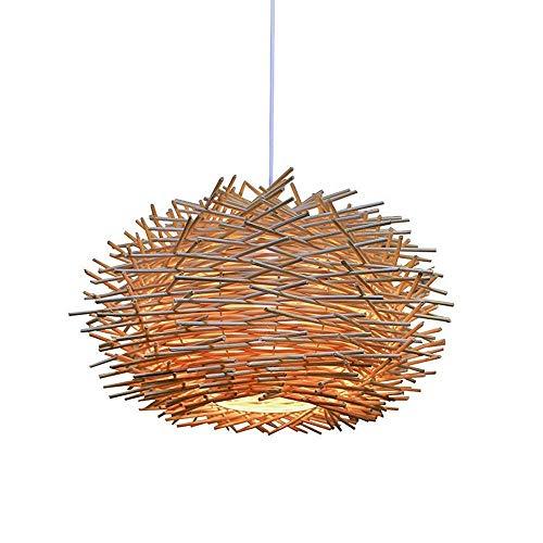 BILYSKEP Suspension lumineuse en rotin, lustre réglable en nid d'oiseau, plafonnier de la salle à manger de la chambre à coucher 300 x 170mm