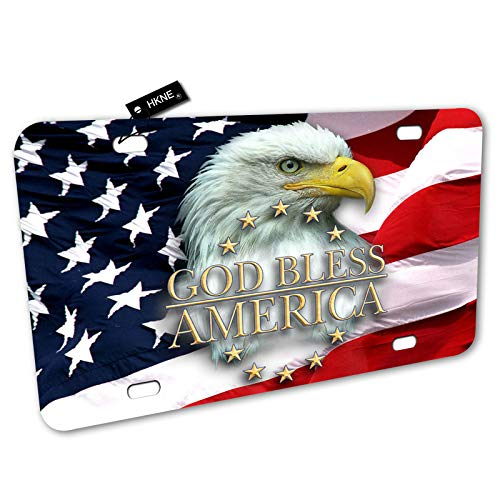 American Flag Eagle God Bless America License Plate Front Aluminum Metal License Plate Auto Car Tag Novelty Home Decor Signs for Women Men 6 inch X 12 inch