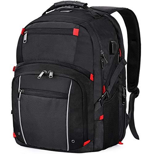 Laptop Rucksack Herren 17.3 Zoll Wasserdicht USB Ladeanschluss Business Computer Rucksäcke Reiserucksack 17 15.6 Zoll groß Multifunktions Schulrucksack Schwarz