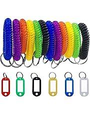 SENHAI - 12 llaveros de pulsera y 6 etiquetas llaveros con pulsera elástica de plástico en forma de muelle en espiral,con ventana para llaveros, mascotas o bolsas de equipaje