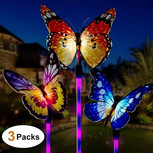 Luces solares para jardín al aire libre, 3 paquetes de luces solares de estaca, Mariposa LED de cambio multicolor, Luz solar para jardín, Cerca, Patio, Terraza, Patio, Entrada de auto