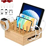 Bamboo Charging Station for Multiple Devices | Desktop Docking Station Organizer with Integrated Airpod&iWatch Charging Stand for airpod, iWatch, iPhone, iPad, Android Phone and Tablet