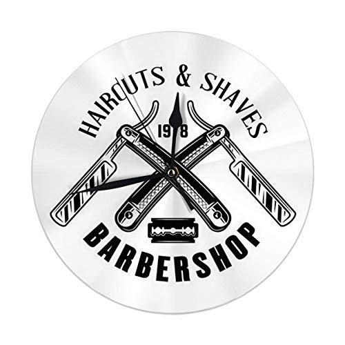 Meili Shop Wanduhr Barbershop Emblem im monochromen Vintage-Stil Zwei gekreuzte Rasiermesser Runde Uhr