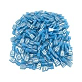 Peissy 120Pcs Female Spade Wire Connectors(Blue 16-14 Gauge), Nylon Fully Insulated Female Wire Quick Spade Disconnect Wire Crimp Terminal Connectors