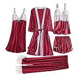 Pijamas Mujer Camisón 5 Piezas De Ropa De Dormir Sexy para Mujer, Camisola De Encaje Satinado, Pantalones Cortos, Camisón, Bata, Pijama, Lencería, Vestido De Seda, Chemise De Nuit Femme XL Rojo