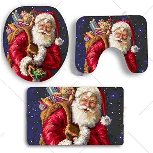 Christmas XMAX Design 3 Piece Bathroom Rugs set, Non Slip Bath Mat Toilet Lid Cover for Washroom (blue, 3)