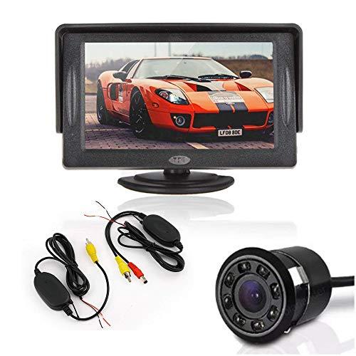 Boomboost 4,3 Pouces TFT LCD Affichage à écran Couleur de Poche à l'arrière + 18,5 mm 8led rétroviseur caméra de Voiture + vidéo transmetteur et récepteur Kit