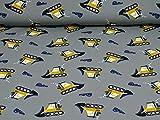 Frowein Jersey Baumwolle Bulldozer, Ökotex 100, grau (25cm