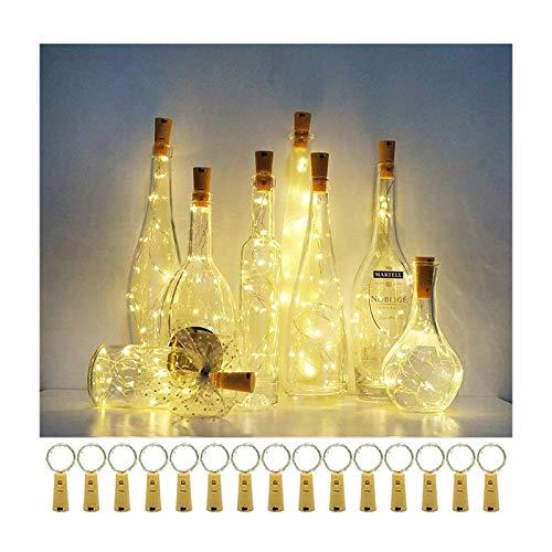 MINYUE Luces De Botella De Vino con Corcho, Luces De Cadena LED De Hadas De Alambre De Cobre Ligero, para DIY Dormitorio Fiesta Boda Interior Exterior Deco (Paquete De 15),1m