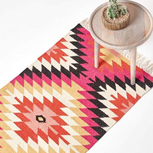 Homescapes Kelim-Teppichläufer Jakarta, handgewebt aus Wolle/Baumwolle, 66 x 200 cm, bunter...