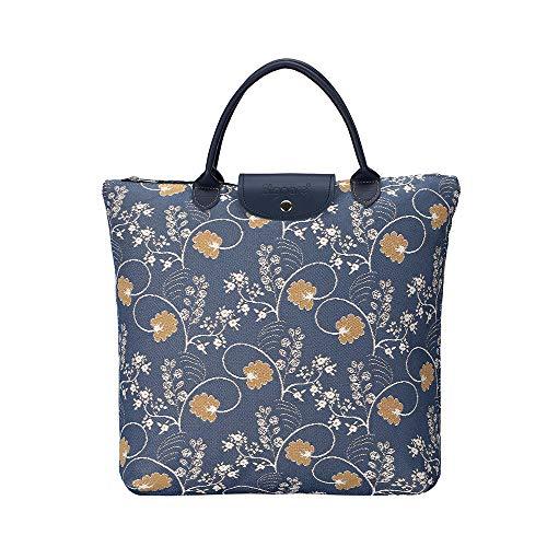 Signare Tapisserie Faltbare Einkaufstasche, Einkaufstasche Faltbar, Falttasche, einkaufsbeutel faltbar für die handtasche mit Blumenmustern (Austen Blue)