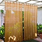 HIPPO - HDPE Fabric - Decorative Outdoor Loop Curtains - 80% to 85% Sun Blockage - Beige Black Color - 4.5 ft X 7.5 ft - Pack of 2 pcs