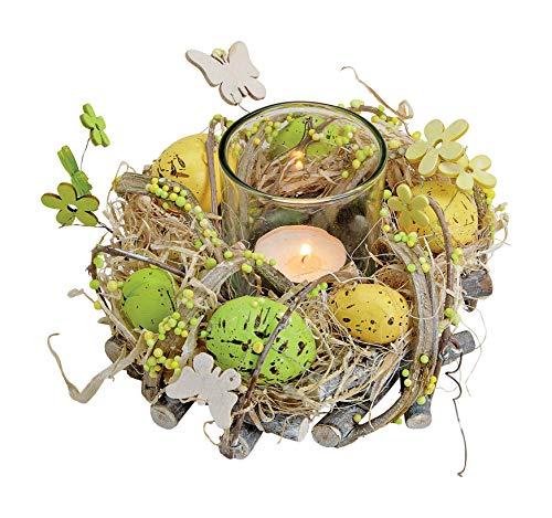 Oster-Kranz Deko-Kranz Windlicht Teelichthalter mit Kranz Frühlings-Look mit Oster-Eier-n grün, gelb & braun - Ostern Oster-Fest Oster-Eier / Frühling Oster-Deko Windlicht / Teelichthalter-Kranz
