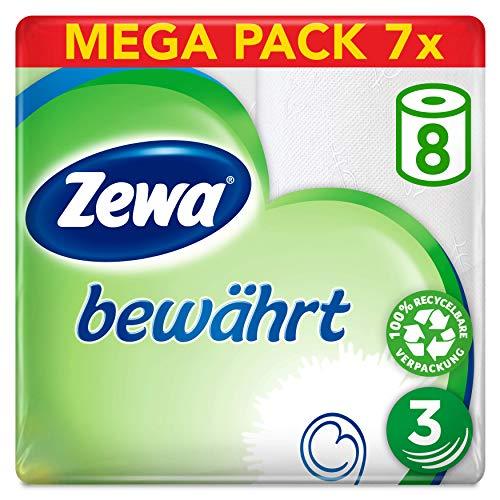Zewa Toilettenpapier Bewährt, Riesenpackung 7 X 8 Rollen Mit Je 150 Blatt, 7 Packungen