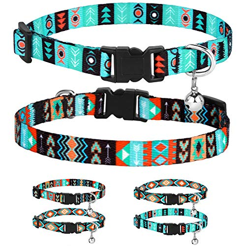 CollarDirect Cat Collar Breakaway Set of 2 PCS Tribal Pattern Aztec Pet Safety Adjustable Kitten Collar with Bell (Pattern 1 + Pattern 2)