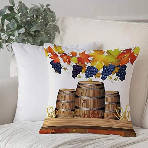 Funda de almohada, Funda de cojín Uvas, Barriles de vino de madera con hojas de otoño doradas descoloridas Diseño de luz solar otoñal, Decoración de hogar Funda de cojín Cuadrado acogedor para sofá Fu