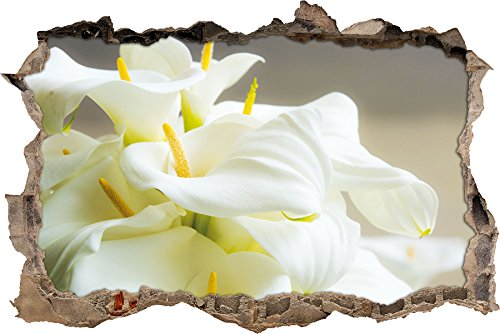 Wunderschöne weiße Calla Lilien Wanddurchbruch im 3D-Look, Wand- oder Türaufkleber Format: 92x62cm, Wandsticker, Wandtattoo, Wanddekoration