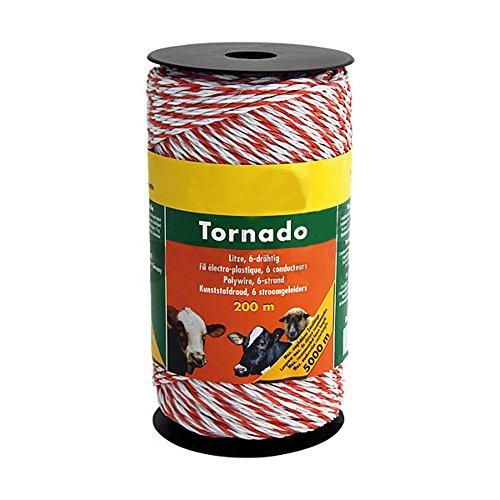 Fil électro-plastique Tornado, blanc/orange, 1 cuivre d= 0,30, 5 inox d= 0,20 rlx de 400 m - 180601