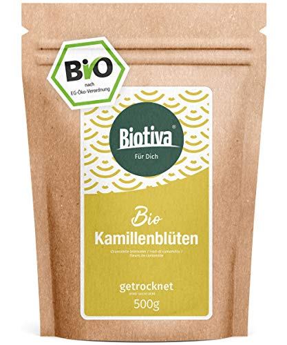 Kamillen-Blüten Tee (Bio, 500g) - Hochwertigste ganze Bio-Kamillenblüten - Bio-Kamillen-Tee - Abgefüllt und kontrolliert in Deutschland (DE-ÖKO-005)