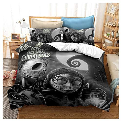 HOXMOMA Duvet Cover Set Nightmare Before Christmas 3D Printing Bedding, Bedroom Decor Quilt Cover, Hypoallergenic Microfiber Bedding Set for Children, Teens Comforter Cover,Black,Single135x200cm