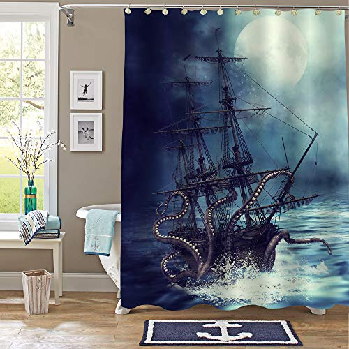"""MitoVilla Nautical Sailboat Shower Curtain Set, Giant Sea Monster Octopus Kraken Attack Pirate Ship Art Print Bathroom Decor for Mens and Boy Ocean Animal Themed Gifts, 50"""" W x 78"""" L"""