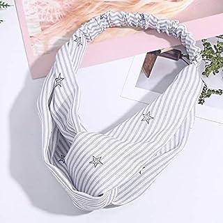 Hair band Fashion Smooth Fabric Striped Twist Hair Scrunchie Head Wrap Stretch Stripes Headwear Women Hair Accessorie MJZCUICAN (Color : Gray, Size : Free)