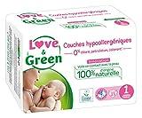 Love & Green Couches Bébé Hypoallergéniques 0% Taille 1 (2-5 kg) 23 couches