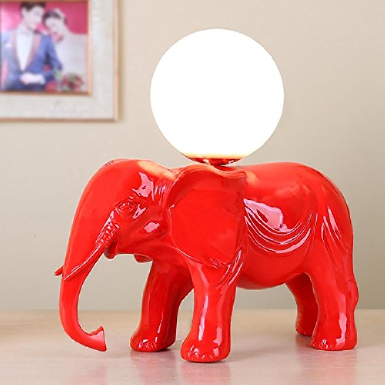 XINYE Kreativ Elefant Schreibtischlampe Harz Schlafzimmer Geschenk Tischleuchte, rot, Button Switch