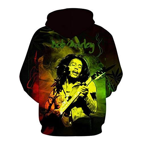 QINGLI 3D Leaf, Bob Marley (Bob Marley) Pullover Hoodie Loose Casual Sportswear Top Print Unisex Hoodie Mens Sweatshirt Long Sleeve Couple Hoodie D-S