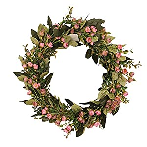 Silk Flower Arrangements Liadance 16 Inch Artificial Spring Wreath Pink Oil Painting Fragrant Snowball Flower Floral Wreath for Front Door Wall Wedding Party Home Decor
