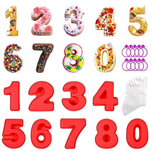 ZIIVARD Small Number Cake Pans,4 Inch 0-8 Number Silicone Cake Molds for Baking with 100 Pastry Bags and 10 Bag Ties for Birthday Wedding Anniversary Party Cake Decorations Kitchen Baking